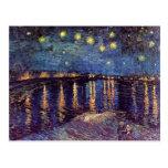 Van Gogh; Noche estrellada sobre el Rhone, arte de Postales
