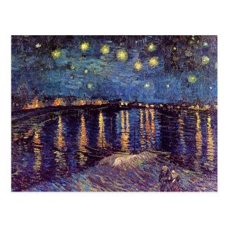 Van Gogh Noche estrellada sobre el Rhone arte de Postales