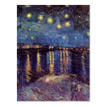 Van Gogh; Noche estrellada sobre el Rhone, arte de Tarjetas Postales
