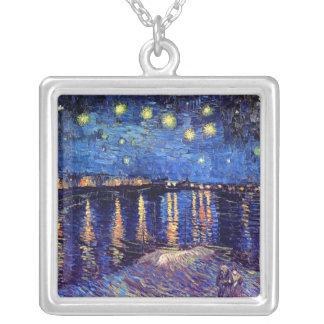 Van Gogh - noche estrellada sobre el Rhone Colgante Cuadrado