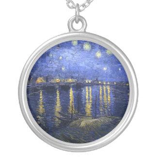Van Gogh: Noche estrellada sobre el Rhone Colgante Redondo