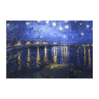 Van Gogh: Noche estrellada sobre el Rhone Impresión En Lienzo
