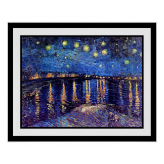 Van Gogh - noche estrellada sobre el Rhone Póster