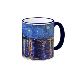 Van Gogh - noche estrellada sobre el Rhone Taza A Dos Colores