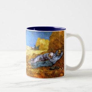 Van Gogh: Noon Rest from Work Two-Tone Coffee Mug