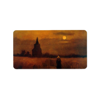 Van Gogh Old Tower In The Fields, Vintage Fine Art Label