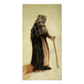 Van Gogh - Old Woman with Shawl and Walking-Stick Poster