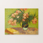 """Van Gogh Oleanders Puzzle<br><div class=""""desc"""">Van Gogh Oleanders puzzle. Oil painting on canvas from 1888. Vincent Van Gogh stands as on of Western art's great still life flower painters. Oleanders is one of Van Gogh's most beautiful flower paintings, featuring a bouquet of oleanders in a small navy vase with bronze handle. The oleander blossoms are...</div>"""