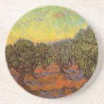 Van Gogh Olive Grove: Orange Sky, Vintage Fine Art Coasters