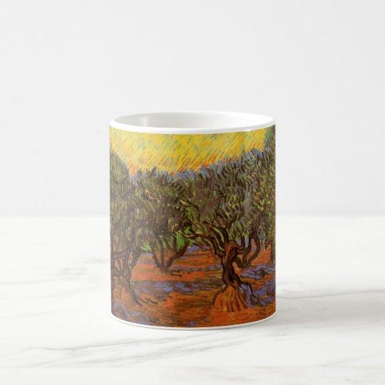 Van Gogh Olive Grove Orange Sky, Vintage Fine Art Coffee Mug
