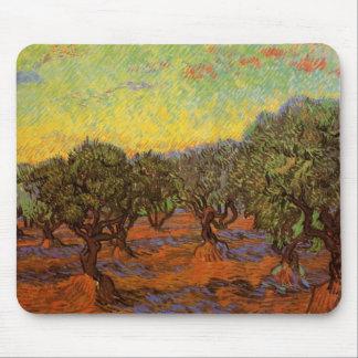 Van Gogh Olive Grove: Orange Sky, Vintage Fine Art Mouse Pads