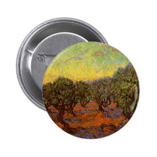Van Gogh Olive Grove Orange Sky, Vintage Fine Art Pinback Button