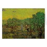 Van Gogh Olive Grove Picking Figures, Fine Art Card