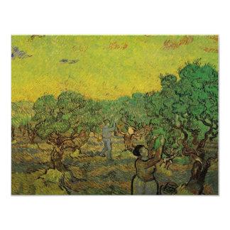 """Van Gogh Olive Grove Picking Figures, Vintage Art 4.25"""" X 5.5"""" Invitation Card"""