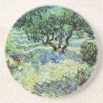 Van Gogh Olive Grove, Vintage Trees Fine Art Sandstone Coaster