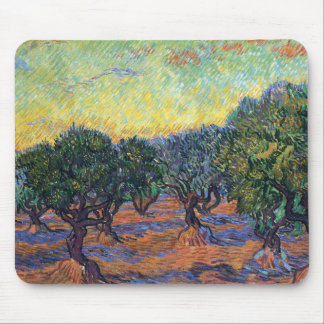 Van Gogh Olive Grove with Orange Sky Mouse Pad