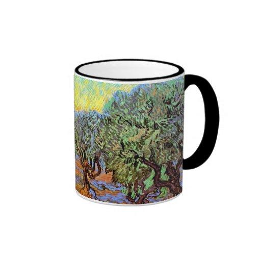 Van Gogh - Olive Grove with Orange Sky Ringer Coffee Mug