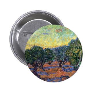 Van Gogh Olive Grove with Orange Sky Pinback Button