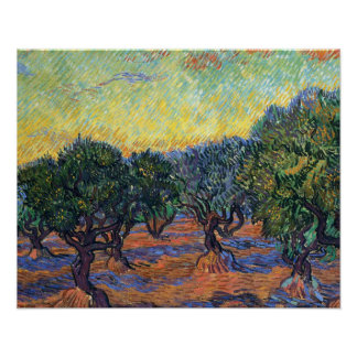 Van Gogh Olive Grove with Orange Sky Posters