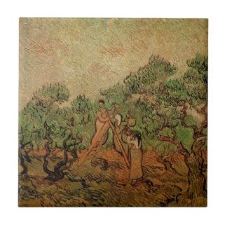 Van Gogh Olive Picking, Vintage Fine Art Ceramic Tile