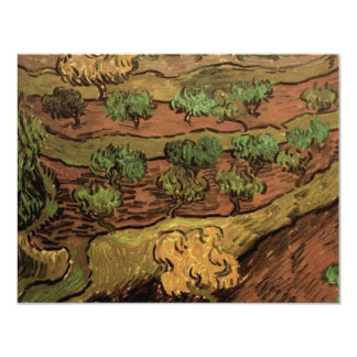 """Van Gogh Olive Trees Against a Slope of a Hill 4.25"""" X 5.5"""" Invitation Card"""