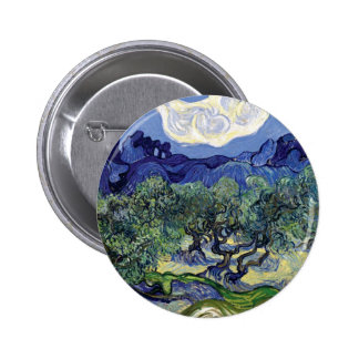 Van Gogh - Olive Trees In A Mountainous Landscape Pinback Button