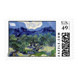 Van Gogh - Olive Trees In A Mountainous Landscape Stamp