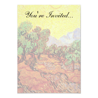 Van Gogh - Olive Trees With Yellow Sky And Sun 5x7 Paper Invitation Card
