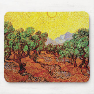Van Gogh - Olive Trees With Yellow Sky And Sun Mouse Pad