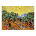 Van Gogh: Olive Trees with Yellow Sky and Sun Poster