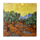 """Van Gogh - Olive Trees with Yellow Sky and Sun Tile<br><div class=""""desc"""">Vincent van Gogh painting,  Olive Trees with Yellow Sky and Sun</div>"""