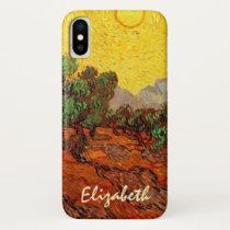 Van Gogh Olive Trees with Yellow Sky Sun, Fine Art iPhone XS Case