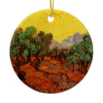 Van Gogh Olive Trees with Yellow Sky Sun, Fine Art Ceramic Ornament