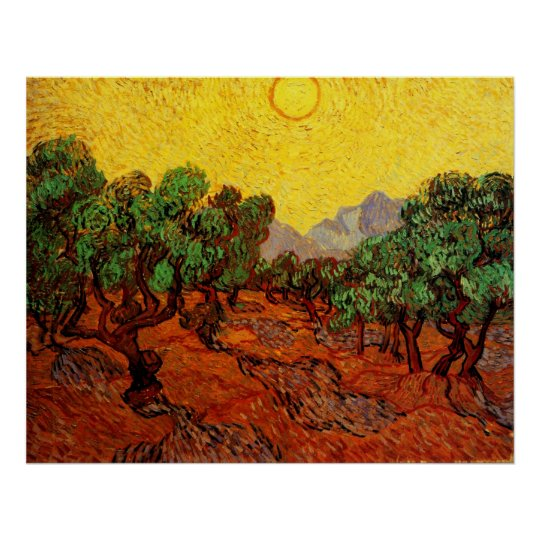 Van Gogh Olive Trees with Yellow Sky Sun, Fine Art Poster