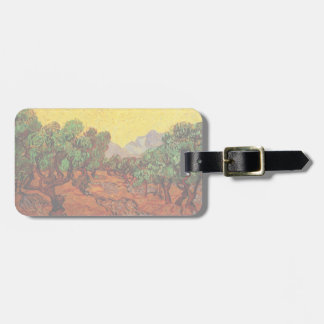 Van Gogh Olive Trees with Yellow Sky Sun, Fine Art Tag For Luggage