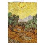 Van Gogh Olive Trees Yellow Sky & Sun (F710) Greeting Card