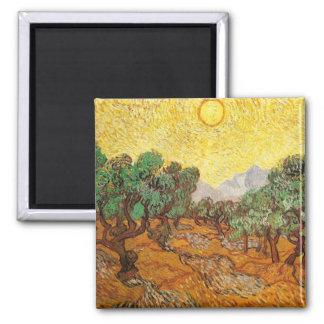 Van Gogh Olive Trees Yellow Sky & Sun (F710) Refrigerator Magnet