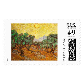 Van Gogh Olive Trees Yellow Sky & Sun (F710) Postage Stamp