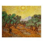 Van Gogh Olive Trees Yellow Sky & Sun (F710) Poster