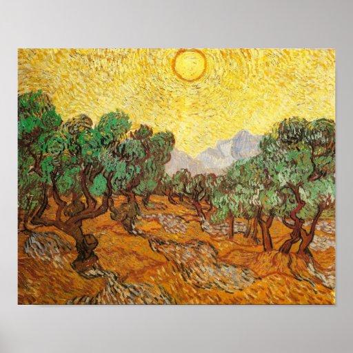 Van Gogh Olive Trees Yellow Sky & Sun (F710) Poster