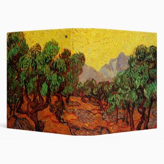 Van Gogh Olive Trees Yellow Sky Sun Vintage Art Vinyl Binder