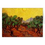 Van Gogh Olive Trees Yellow Sky Sun, Vintage Art Greeting Card