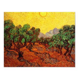 "Van Gogh Olive Trees Yellow Sky Sun, Vintage Art 4.25"" X 5.5"" Invitation Card"