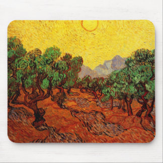 Van Gogh Olive Trees Yellow Sky Sun, Vintage Art Mousepad