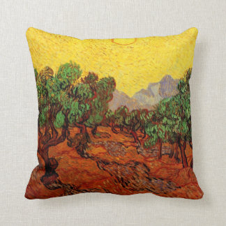Van Gogh Olive Trees Yellow Sky Sun, Vintage Art Pillow