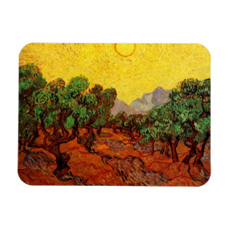 Van Gogh Olive Trees Yellow Sky Sun, Vintage Art Vinyl Magnets