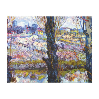 Van Gogh – Orchard In Bloom With Poplars Canvas Print