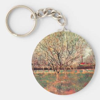 Van Gogh Orchard in Blossom Vintage, Fine Art Basic Round Button Keychain