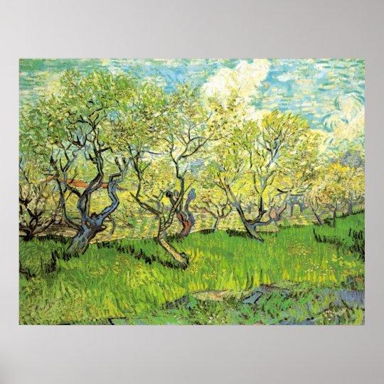 Van Gogh Orchard in Blossom, Vintage Fine Art Poster