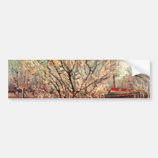 Van Gogh Orchard in Blossom Vintage Impressionism Bumper Stickers
